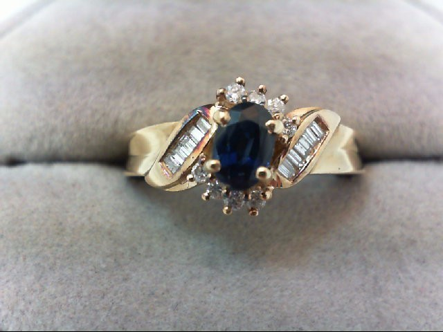 Sapphire Lady's Stone & Diamond Ring 13 Diamonds .26 Carat T.W. 14K Yellow Gold