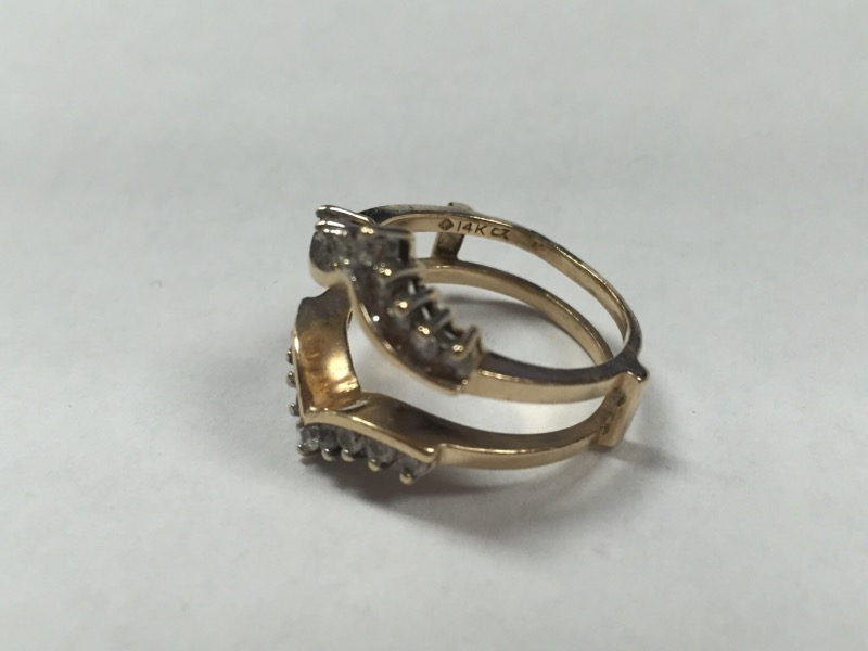 14K MARQUISE STYLE DIAMOND RING GUARD, SIZE 6.5