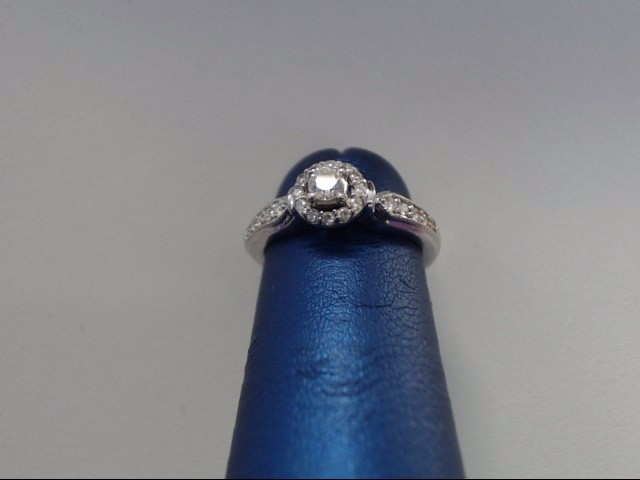 Lady's Diamond Engagement Ring 23 Diamonds .32 Carat T.W. 10K White Gold 1.9g