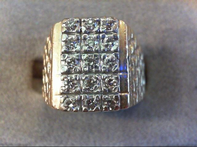 Gent's Diamond Fashion Ring 15 Diamonds .30 Carat T.W. 14K Yellow Gold 8.8g
