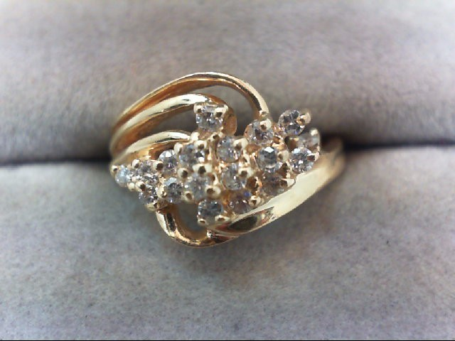 Lady's Diamond Cluster Ring 17 Diamonds .34 Carat T.W. 14K Yellow Gold 3.3g