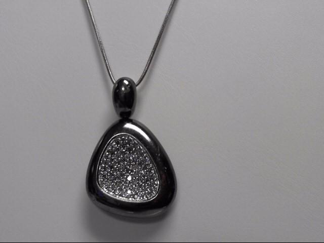 ROBERTO COIN DIAMOND STERLING SILVER PENDANT W CHAIN