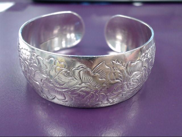S Kirk and Son Vintage Sterling Rose Pattern Cuff Bracelet