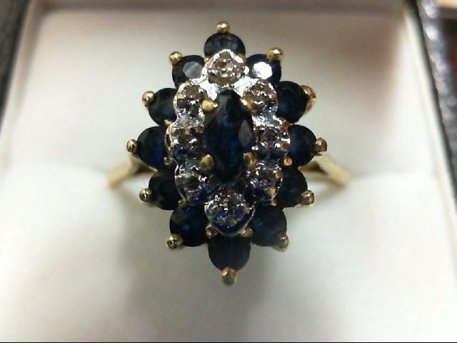 Sapphire Lady's Stone & Diamond Ring 8 Diamonds 0.08 Carat T.W. 14K Yellow Gold