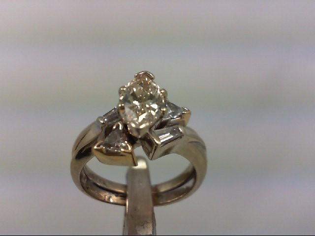 Lady's Diamond Wedding Set 5 Diamonds 1.52 Carat T.W. 14K White Gold 5.51g