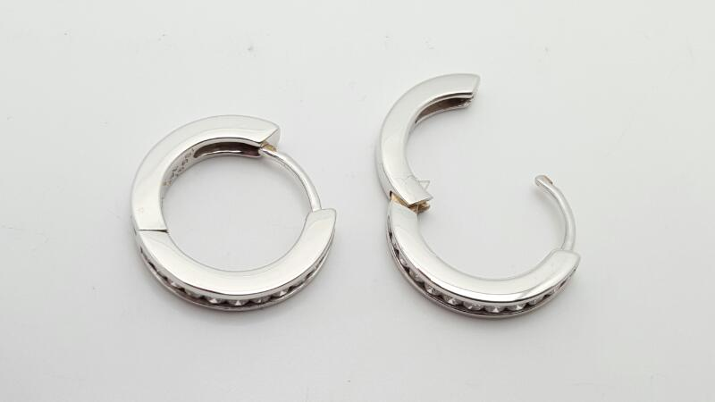 Gold-Diamond Earrings 24 Diamonds .50 Carat T.W. 14K White Gold 5g