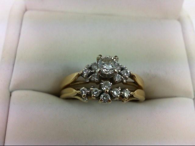Lady's Diamond Wedding Set 13 Diamonds 0.44 Carat T.W. 14K Yellow Gold 4.1g Size