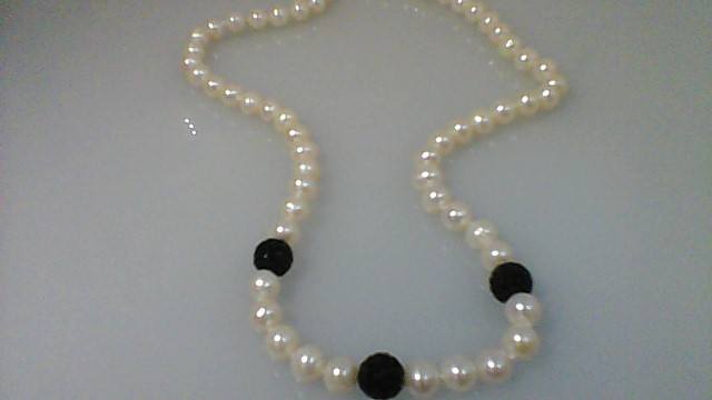 Synthetic Pearl Stone Necklace 925 Silver 28.2g