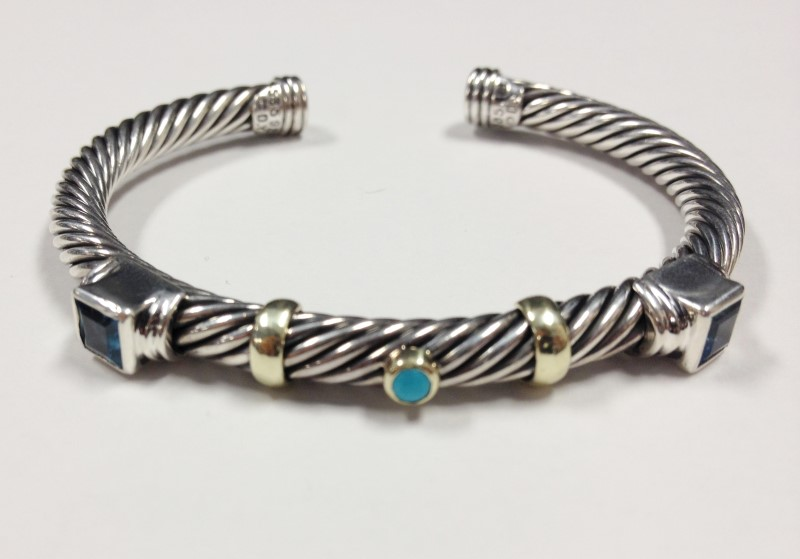 David Yurman Topaz Turquoise 14kt & Sterling Silver Open Twist Bracelet 28.54g