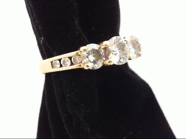 Lady's Diamond Engagement Ring 9 Diamonds 1.28 Carat T.W. 14K Yellow Gold 3.05g