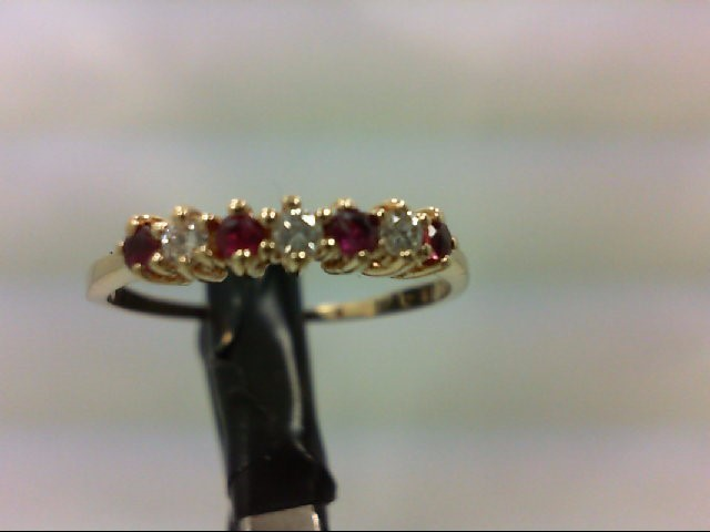 Ruby Lady's Stone & Diamond Ring 3 Diamonds 0.09 Carat T.W. 14K Yellow Gold 1.5g