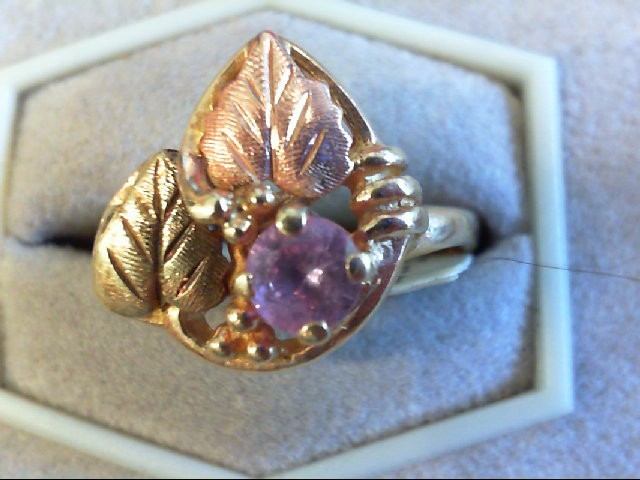 Synthetic Pink Sapphire Lady's Stone Ring 10K 2 Tone Gold 4.1g