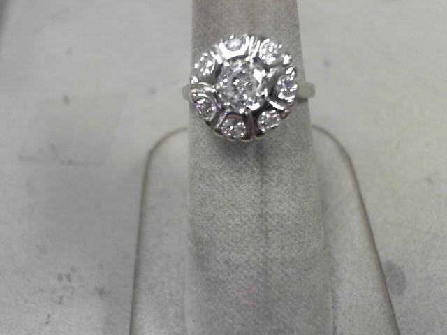 Lady's Diamond Fashion Ring 8 Diamonds .78 Carat T.W. 14K White Gold 3.64g