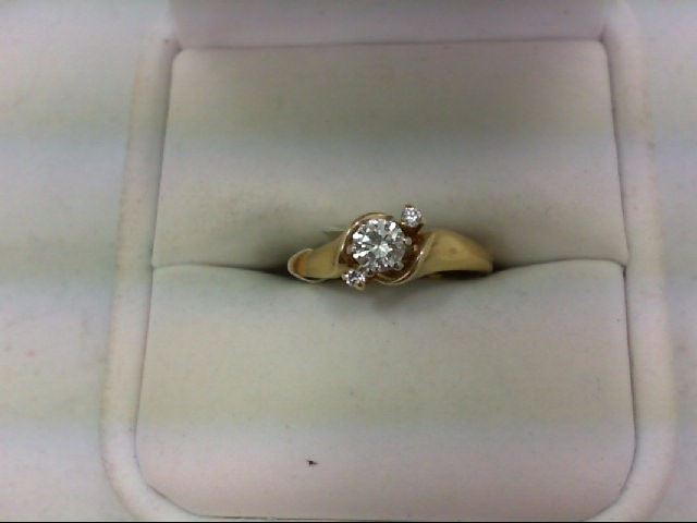 Lady's Diamond Engagement Ring 3 Diamonds 0.37 Carat T.W. 14K Yellow Gold 2.6g S