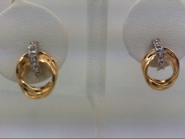 Gold-Diamond Earrings 6 Diamonds 0.06 Carat T.W. 14K 2 Tone Gold 2.1g