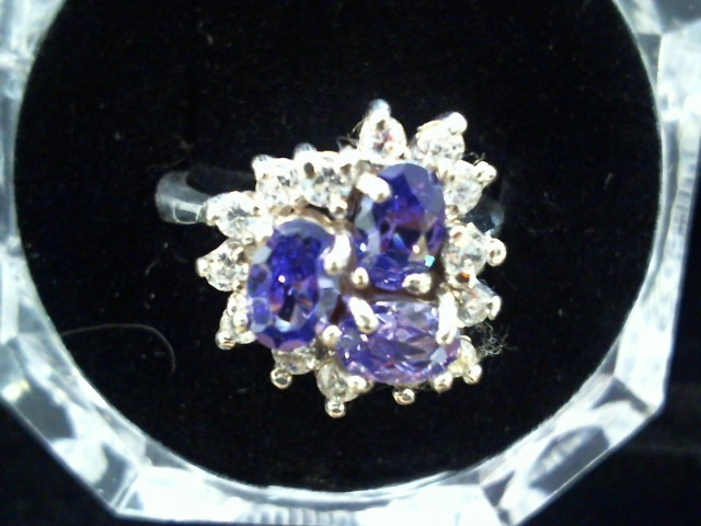 Synthetic Amethyst Lady's Silver & Stone Ring 925 Silver 4.9g