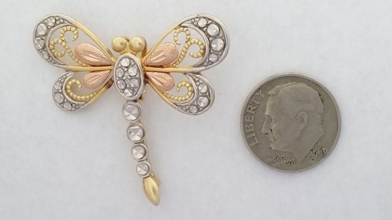 Dragonfly Pendant / Brooch set in 14K Tri-Color Gold 4.1g