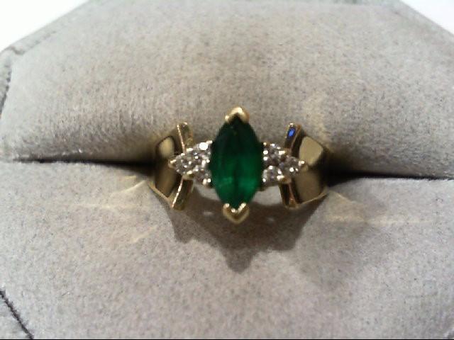 Emerald Lady's Stone & Diamond Ring 6 Diamonds .06 Carat T.W. 10K Yellow Gold