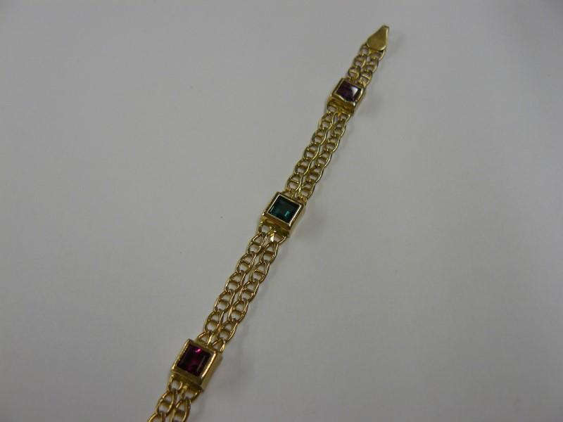Multi-Gemstone Bracelet 14K Yellow Gold 5.03dwt