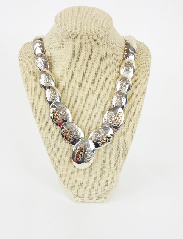 Native American Sterling Silver Enlayed Necklace 51.6