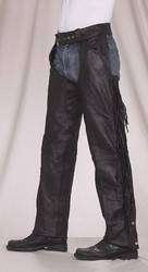 DEALER LEATHER CHAPS; C337-A M, #SIZE M; CHAPS, FRINGED, BRAIDED, EXPANDABLE