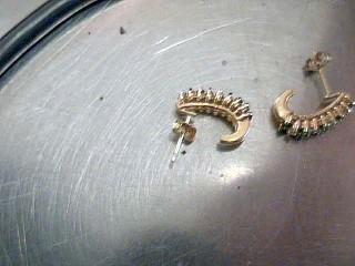 Emerald Gold-Diamond & Stone Earrings 16 Diamonds .32 Carat T.W.
