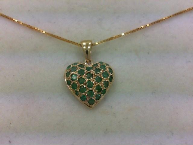 Emerald Gold-Stone Pendant 14K Yellow Gold 4.2g