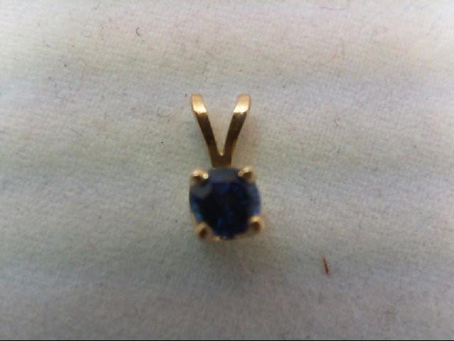 Sapphire Gold-Stone Pendant 14K Yellow Gold 0.3g