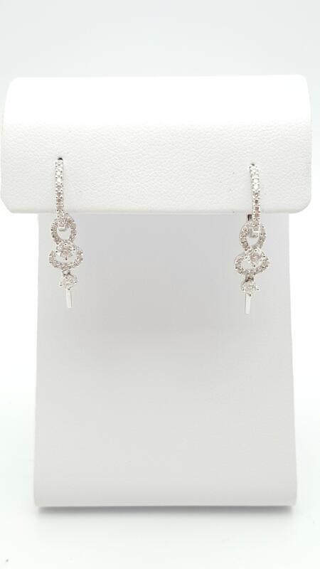 Gold-Diamond Earrings 55 Diamonds .55 Carat T.W. 18K White Gold 2.8g