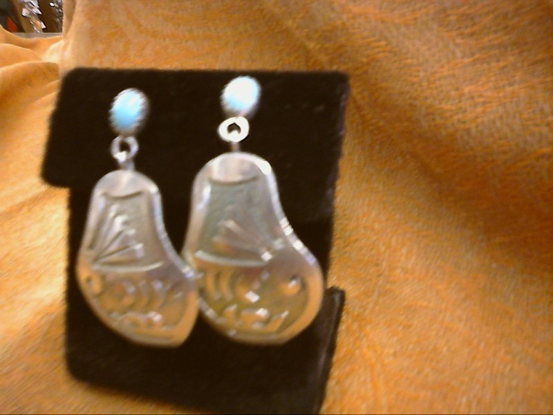 Synthetic Turquoise Silver-Stone Earrings 925 Silver 5.8dwt