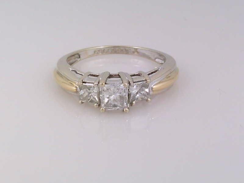 PRINCESS 3 NATURAL DIAMOND 1.0 TCW ENGAGE RING 18K GOLD 3.2g SZ 6.75