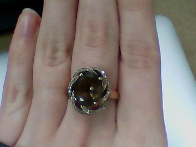Brown Stone Lady's Stone & Diamond Ring 46 Diamonds .46 Carat T.W.