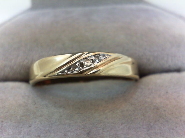 Gent's Gold-Diamond Wedding Band 3 Diamonds .03 Carat T.W. 10K Yellow Gold 2.4g