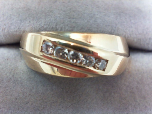Lady's Diamond Wedding Band 5 Diamonds .25 Carat T.W. 14K Yellow Gold 7.4g