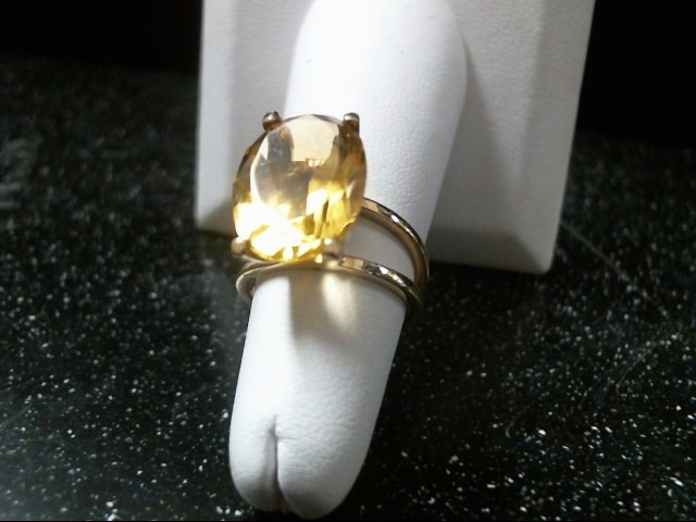 Yellow Stone Lady's Stone Ring 14K Yellow Gold 6.8g Size:6