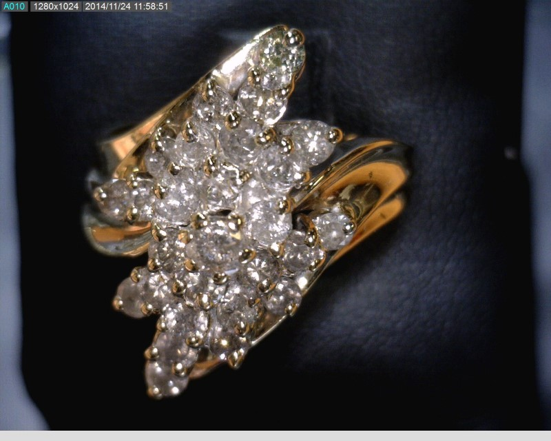 Lady's Diamond Cluster Ring 28 Diamonds 1.75 Carat T.W. 10K Yellow Gold 4.8dwt