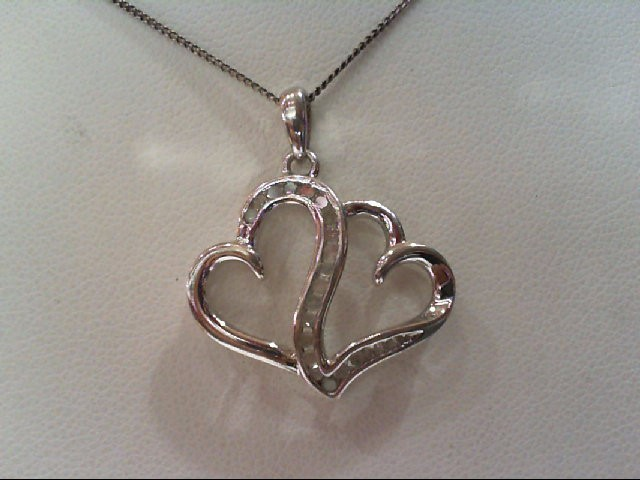 Silver-Diamond Pendant 22 Diamonds .22 Carat T.W. 925 Silver 3.6g