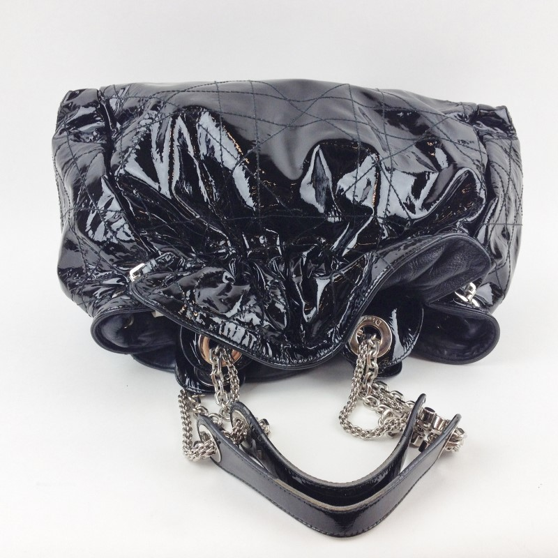 DIOR QUILTED BLACK PATENT LEATHER SHOPPER TOTE HANDBAG