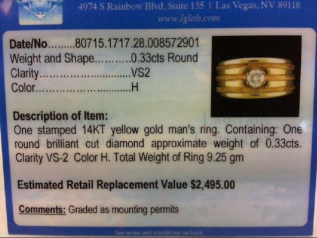 Gent's Gold-Diamond Wedding Band .33 CT. 14K Yellow Gold 9.25g Size:8