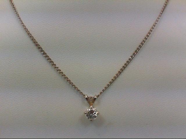 Gold-Diamond Solitaire Pendant 0.35 CT. 14K White Gold 2.8g