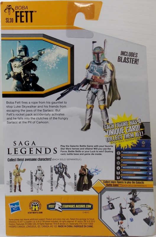 STAR WARS SAGA LEGENDS, BOBA FETT, SL30, INCLUDES GALACTIC BATTLE GAME, NEW