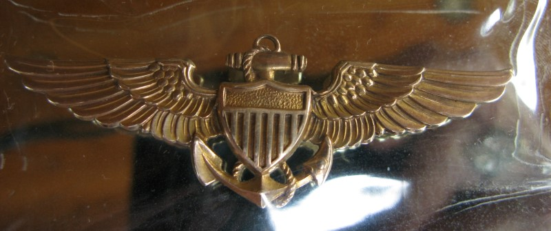 WWII 1945 Engraved Dedication Mirror, Sterling Frame, 10K US Navy Aviator Wings