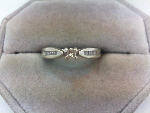 Lady's Diamond Engagement Ring 15 Diamonds .26 Carat T.W. 10K White Gold 2.5g