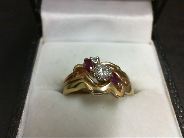 Ruby Lady's Stone & Diamond Ring 2 Diamonds 0.2 Carat T.W. 14K Yellow Gold 5.4g