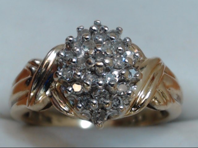 VINTAGE NATURAL DIAMOND CLUSTER RING SOLID REAL 10K YELLOW GOLD SZ 7