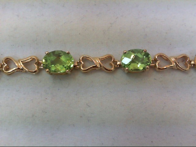 Peridot Gold-Stone Bracelet 10K Yellow Gold 8.4g