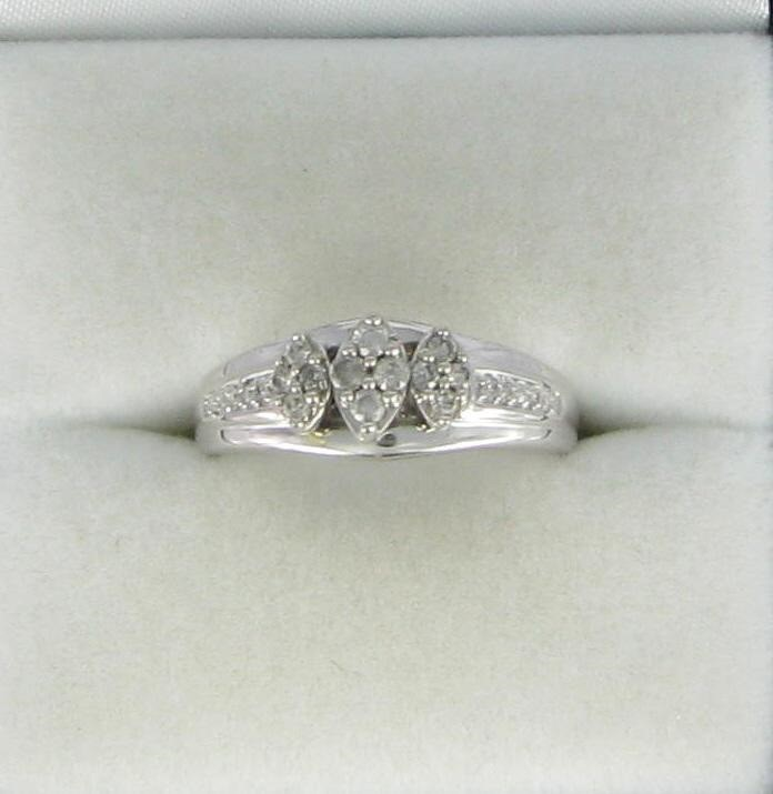 Lady's Diamond Engagement Ring 12 Diamonds .088 Carat T.W. 10K White Gold