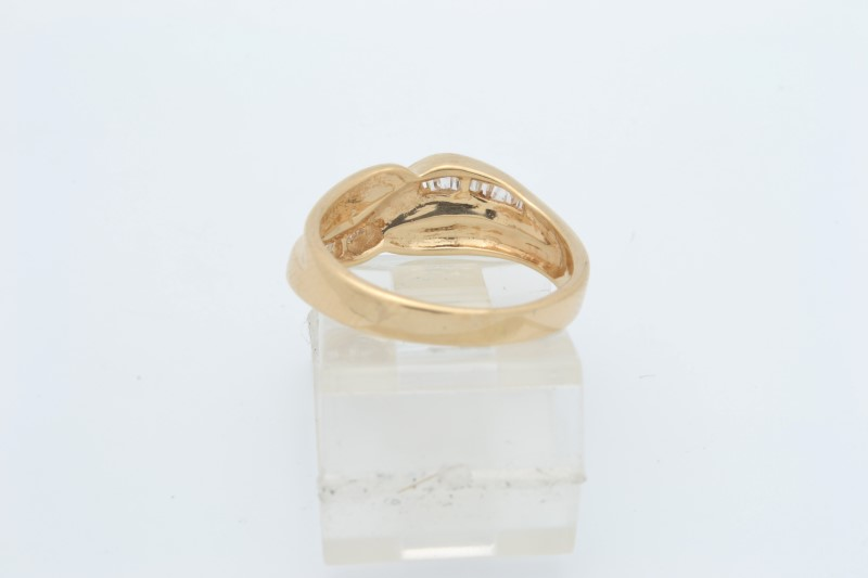 ESTATE DIAMOND RING BAND SOLID 14K YELLOW GOLD BAUGETTES SIZE 5.5