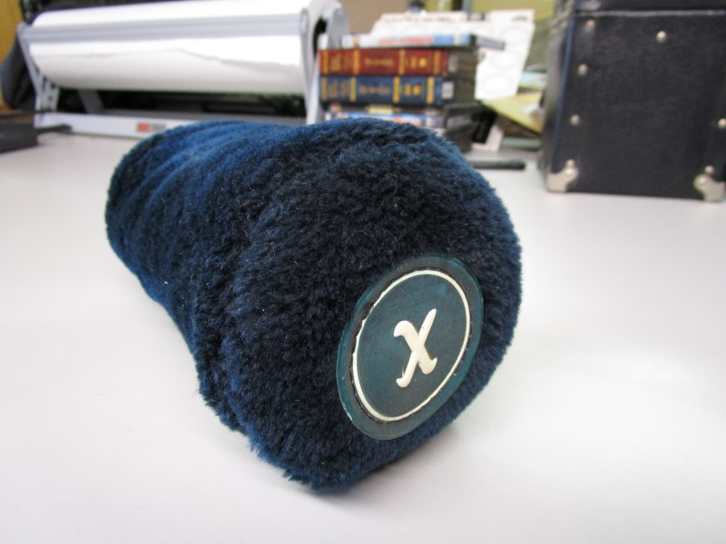 """BLUE GOLF CLUB HEAD COVER, """"X"""" ON BADGE AT TOP, EXCELLENT CONDITION"""