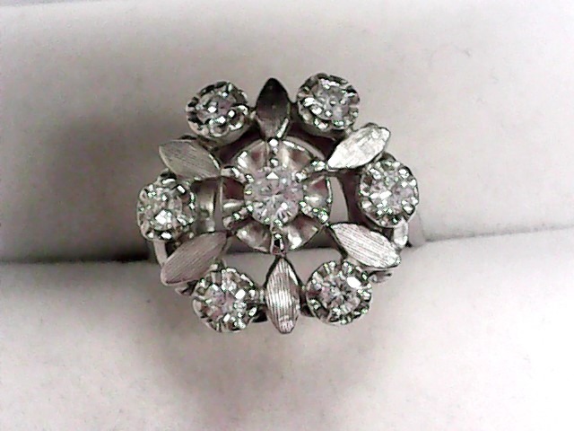 Lady's Diamond Fashion Ring 7 Diamonds .51 Carat T.W. 14K White Gold 4.05dwt